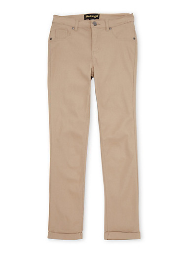 Girls 7-16 Cuffed Stretch Pants,KHAKI,large