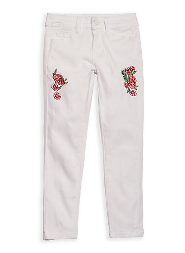 Girls 7-16 Rose Embroidered White Skinny Jeans,WHITE,large