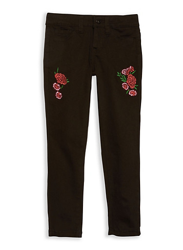 Girls 7-16 Rose Embroidered Black Skinny Jeans,BLACK,large