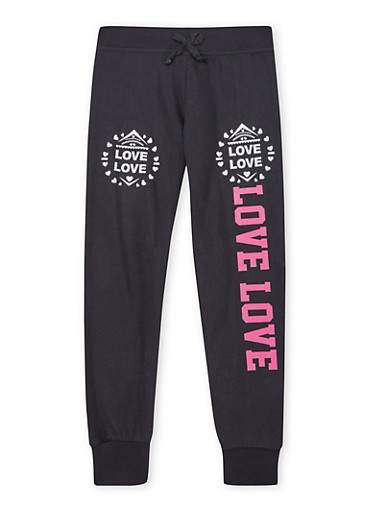 Girls 7-16 Joggers with Love Graphics,BLACK,large