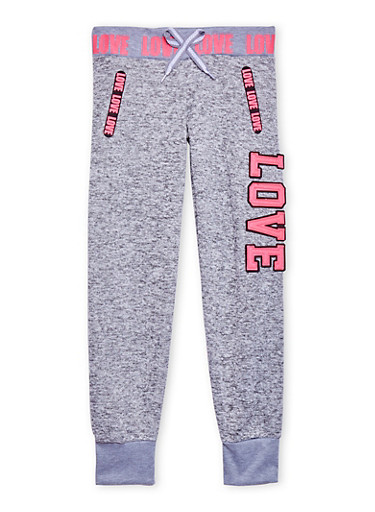 Girls 7-16 Marled Knit Joggers with Love Graphics,GREY,large