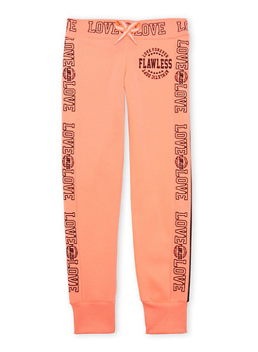 Girls 7-16 Joggers with Flawless Love Graphics,CORAL,large