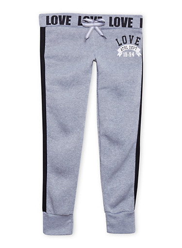 Girls 7-16 Joggers with Flawless Love Graphics,HEATHER,large