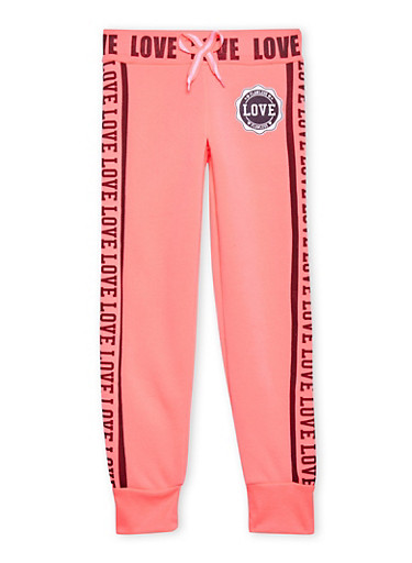 Girls 7-16 Joggers with Flawless Love Graphics,FUCHSIA,large