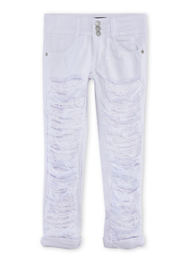 Girls 7-14 Destroyed 3 Button Jeans,WHITE,large