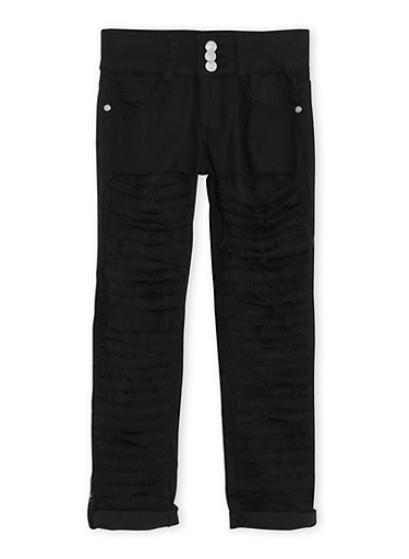 Girls 7-16 Three Button Shredded Skinny Jeans,BLACK,large