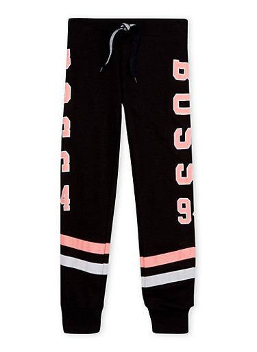 Girls 7-16 Striped Joggers with Boss 94 Graphic,BLACK,large