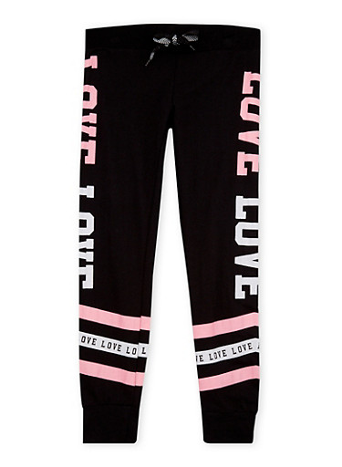 Girls 7-16 Joggers with Love Graphic,BLACK,large