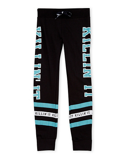 Girls 7-16 Graphic Joggers with Stripes,BLACK,large