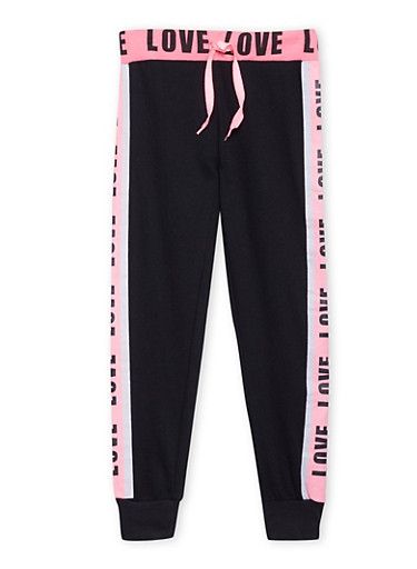 Girls 7-16 Tuxedo Stripe Joggers with Love Graphics,BLACK,large
