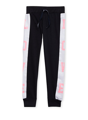 Girls 7-16 Tuxedo Stripe Joggers with Love Graphic,BLACK,large