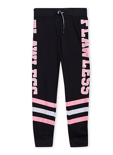 Girls 7-16 Striped Joggers with Flawless Graphic,BLACK,large