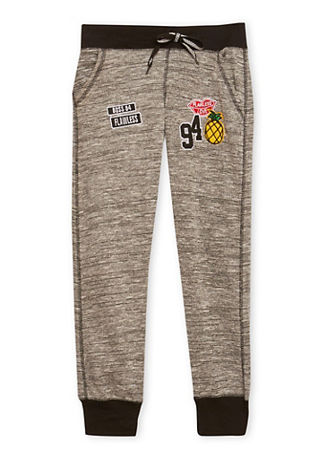 Girls 7-16 Heathered Joggers with Assorted Patches,MULTI COLOR,large