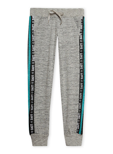 Girls 7-16 Marled Knit Joggers with Love Print Side Panels,HEATHER,large
