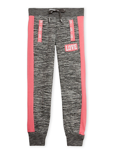 Girls 7-16 Marled Knit Joggers with Love Print,CHARCOAL,large