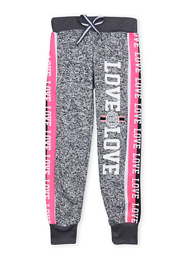Girls 7-16 Marled Love Graphic Joggers,DK GREY,large