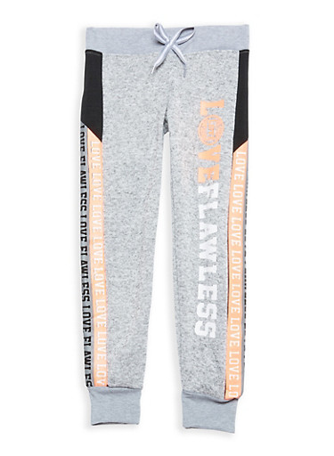Girls 7-16 Graphic Joggers,LT GREY,large