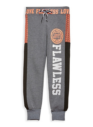 Girls 7-16 Graphic Joggers,CHARCOAL,large