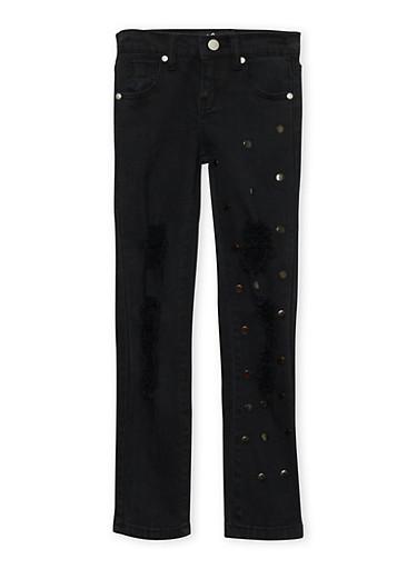Girls 7-16 Distressed Studded Jeans,BLACK,large