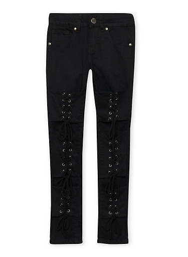 Girls 7-16 VIP Lace Up Jeans,BLACK,large