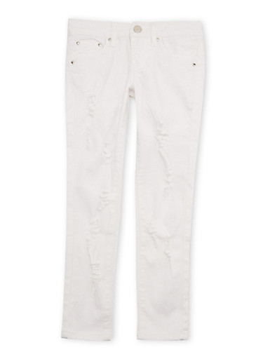 Girls 7-16 Skinny Jeans with Distressing,WHITE,large