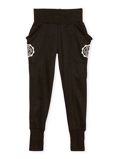 Girls 7-16 Graphic Joggers with Wraparound Pockets,BLACK,large