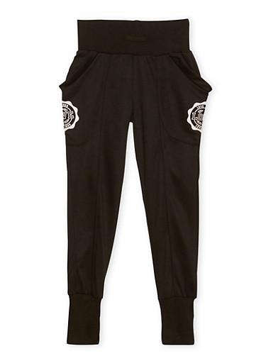 Girls 7-16 Graphic Joggers with Wraparound Pockets,BLACK,large