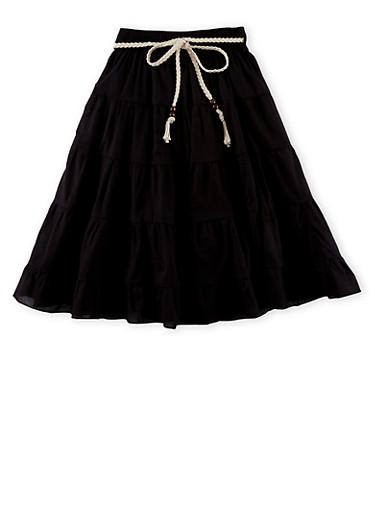 Girls 4-16 Belted Peasant Skirt,BLACK,large