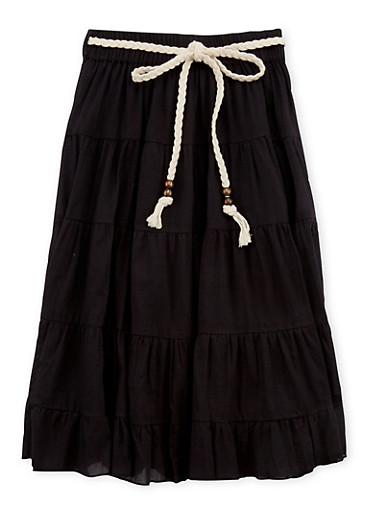 Girls 4-6x Braided Belt Peasant Skirt,BLACK,large
