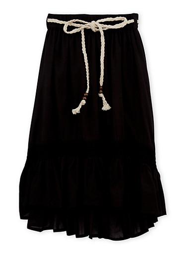 Girls 4-6x Crochet Trim Peasant Skirt,BLACK,large