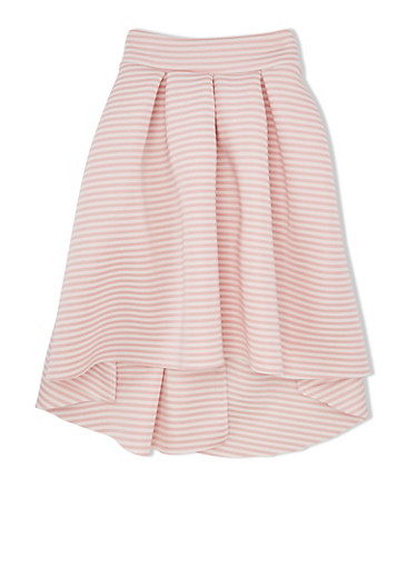 Girls 10-16 Striped Techno Skirt with Pleats and High-Low Hem,PINK/IVORY,large