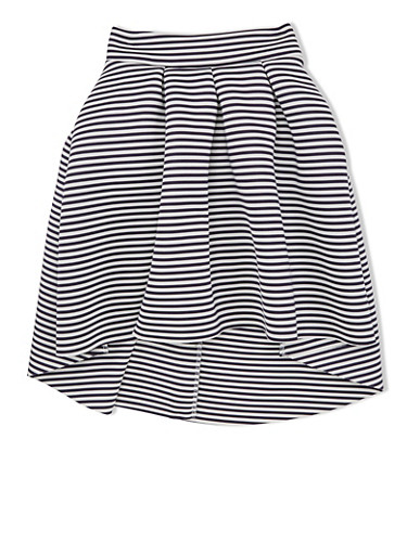 Girls 10-16 Striped Pleated Techno Skirt with High-Low Hem,NAVY/IVORY,large