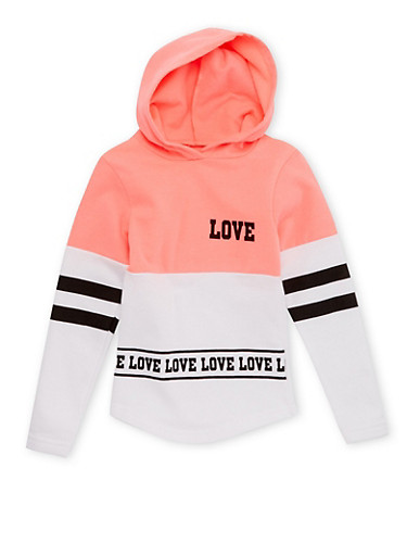 Girls 4-12 Love Print Hoodie,PINK,large