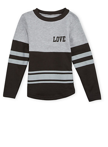 Girls 4-6x Varsity Top with Love Print,HEATHER,large