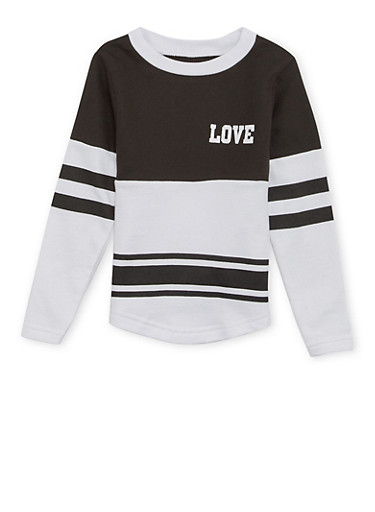 Girls 4-6x Varsity Top with Love Print,BLACK,large