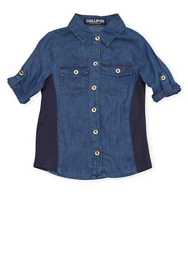 Girls 4-6x Denim Shirt with Rib Knit Side Panels,DENIM,large