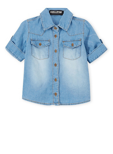 Girls 4-6x Chambray Shirt with High Low Hem,DENIM,large