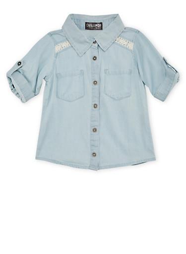Girls 4-6x Denim Shirt with Crochet Panels,DENIM,large