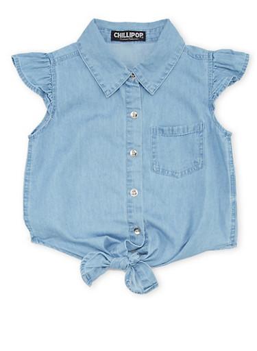 Girls 4-6x Denim Shirt with Tie Front,DENIM,large