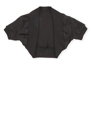 Girls 4-6x Solid Shrug with Rib Knit Trim,BLACK,large