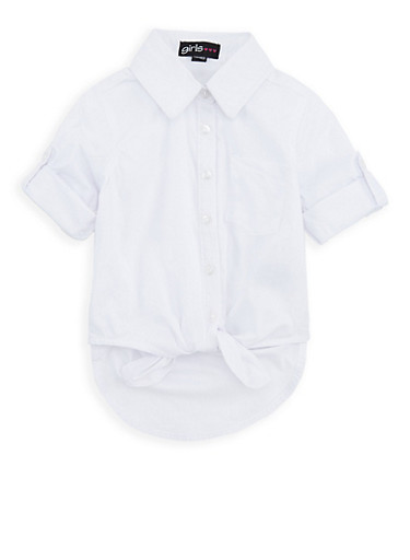 Girls 4-8 Knotted Button Front Shirt,WHITE,large