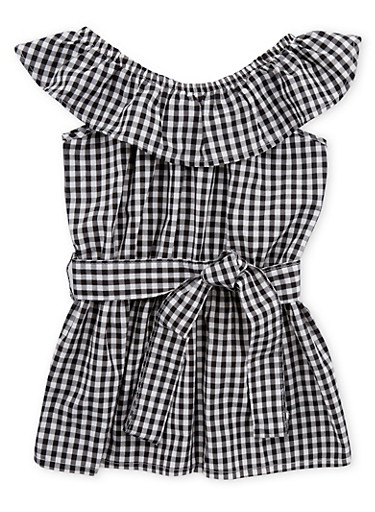 Girls 4-6x Gingham Print Off the Shoulder Top,BLACK/WHITE,large
