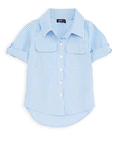 Girls 4-6x Striped Button Front Shirt,WHITE/BLUE,large