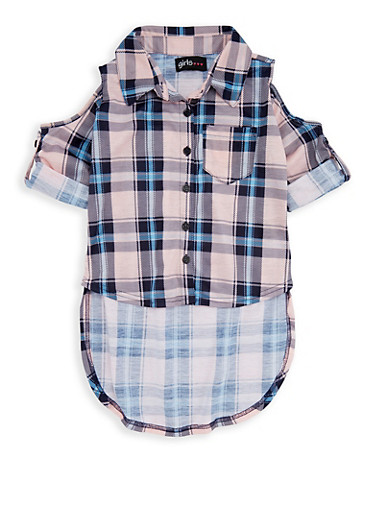 Girls 4-6x Plaid Cold Shoulder Button Front Shirt,NVY/BLSH,large