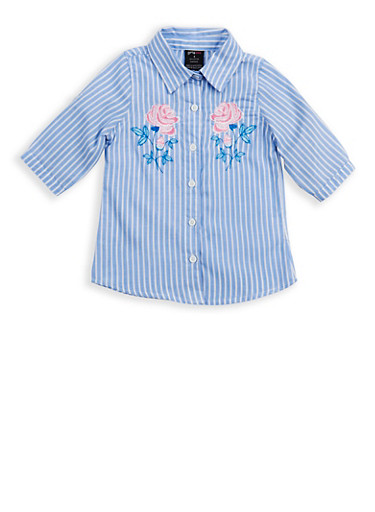 Girls 4-6x Striped Embroidered Button Front Shirt,WHITE/BLUE,large