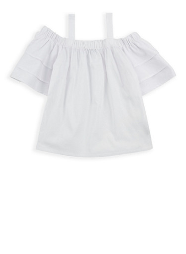 Girls 4-6x Tiered Sleeve Off the Shoulder Top,WHITE,large