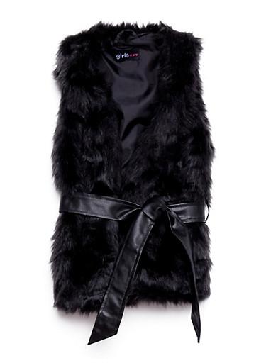 Girls 4-6x Faux Fur Vest with Faux Leather Belt,BLACK,large