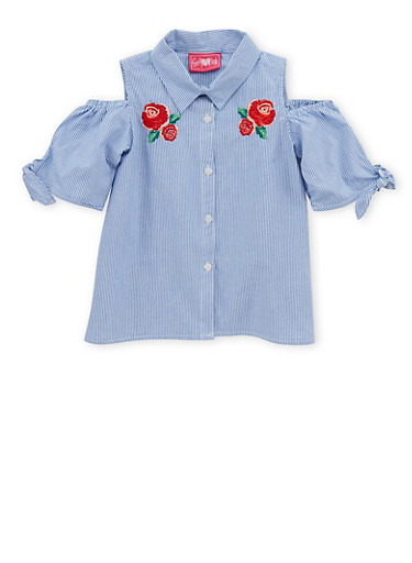 Girls 4-6x Striped Cold Shoulder Button Front Shirt,WHITE/BLUE,large