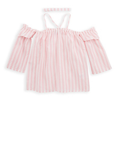 Girls 7-16 Striped Off the Shoulder Top with Choker Necklace,BLUSH,large