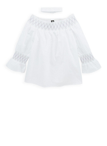 Girls 7-16 Smocked Trim Top with Choker Necklace,WHITE,large